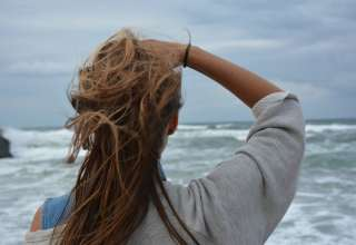 Back View Hair Observing Ocean Wallpaper
