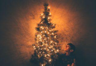 Boy Beside Christmas Tree Illustration Wallpaper
