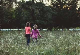 Children Field Walk Friends Wallpaper