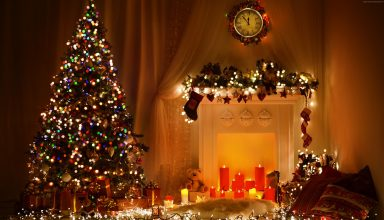 Christmas New Year Toys Tree Fireplace Decorations 4k Wallpaper