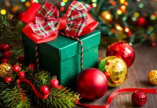 Christmas New Year Gift Box Balls Tree Decorations Wallpaper