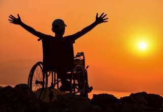 Disabled man and to happy