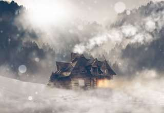 House Fog Winter Bokeh Forest 4k Wallpaper