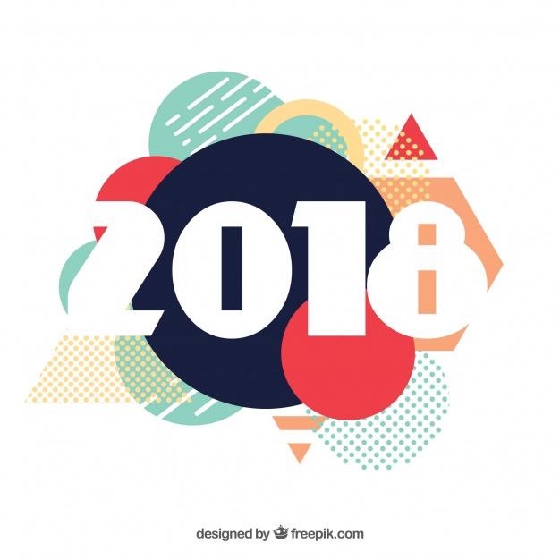 دانلود وکتور New year background 2018