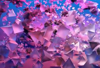 Pyramids 3D Violet Blue Wallpaper