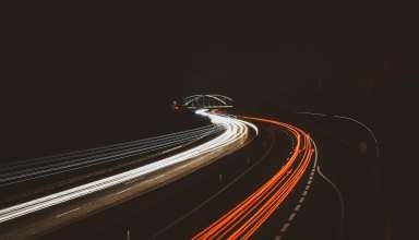 Road Turn Light Night Wallpaper