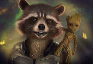 Rocket And Baby Groot Artwork Wallpaper