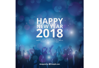 دانلود وکتور Realistic new year 2018 background with party people silhouette