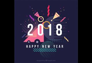 دانلود وکتور Happy new year flat background