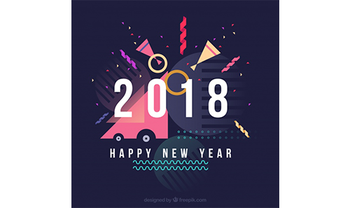 دانلود وکتور Happy new year flat background