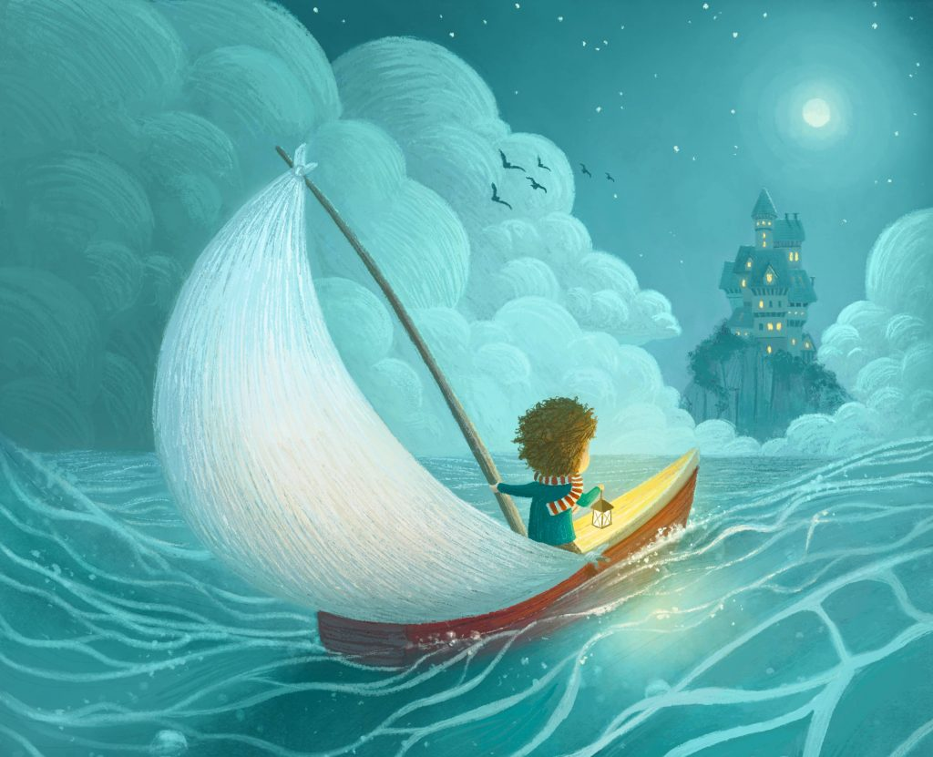 Adventure Castle Moon Sailing Kid Lantern Illustration Wallpaper