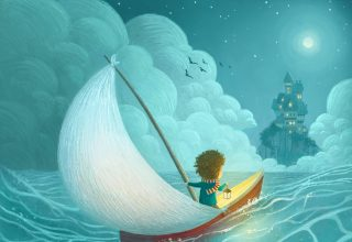 Adventure Castle Moon Sailing Kid Lantern Illustration Wallpaper