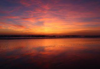 Beach Sunset Evening 4k Wallpaper