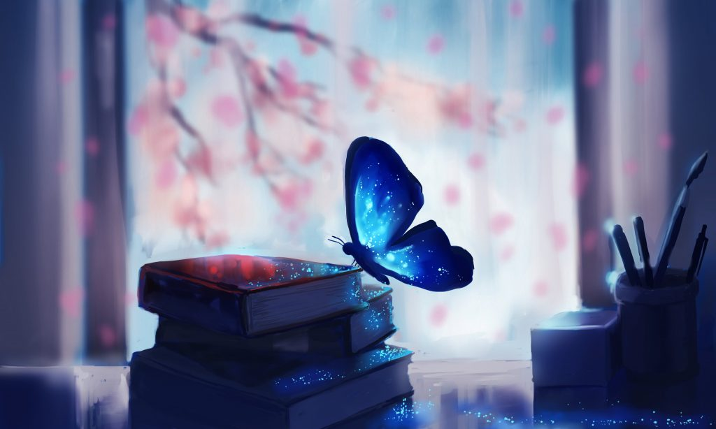Butterfly Colorful Glowing Fantasy Artwork Books Wallpaper