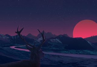 Deer Landscape Manipulation Mountains Sun Rising Wallpaper