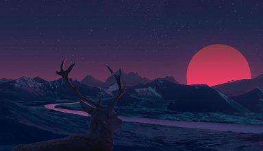 Deer Landscape Manipulation Mountains Sun Rising Wallpaper
