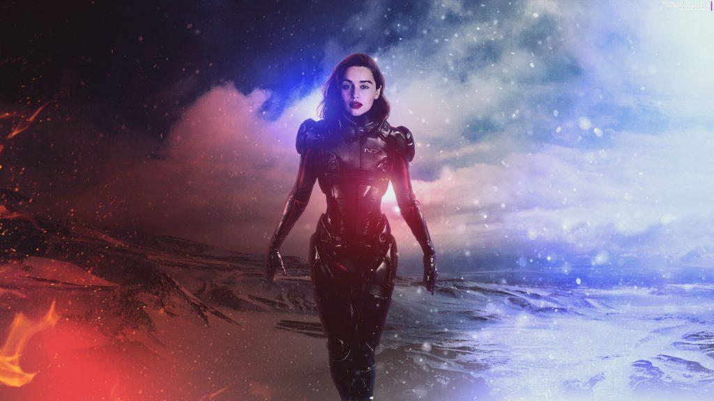 Emilia Clarke Shepard Mass Effect 4k Wallpaper