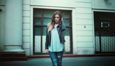 Girl in Leather Jacket Beautiful Hair Model Wallpaper