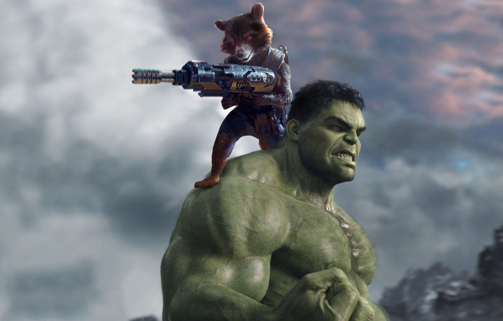 Hulk And Rocket Raccoon Wallpaper