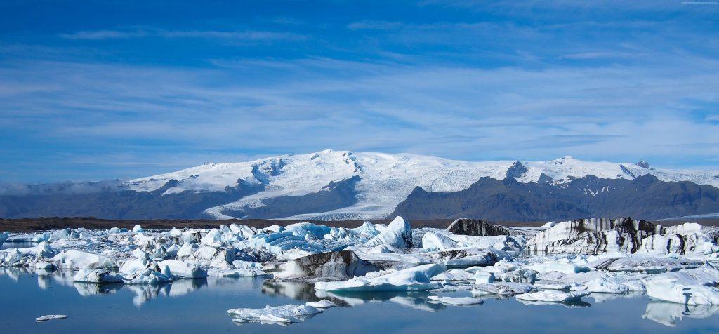 Joekulsarlon Lagoon Ice Ocean Mountains Wallpaper