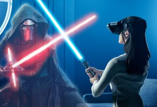 Kylo Ren and Rey in Star Wars: The Last Jedi VR Experience Wallpaper