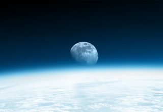 Moon Horizon Blue Wallpaper