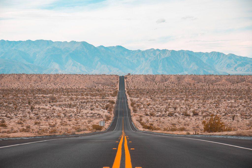 Road Marking Mountains Horizon Direction Wallpaper