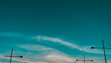 Sky Sunset Pillars Horizon Wallpaper