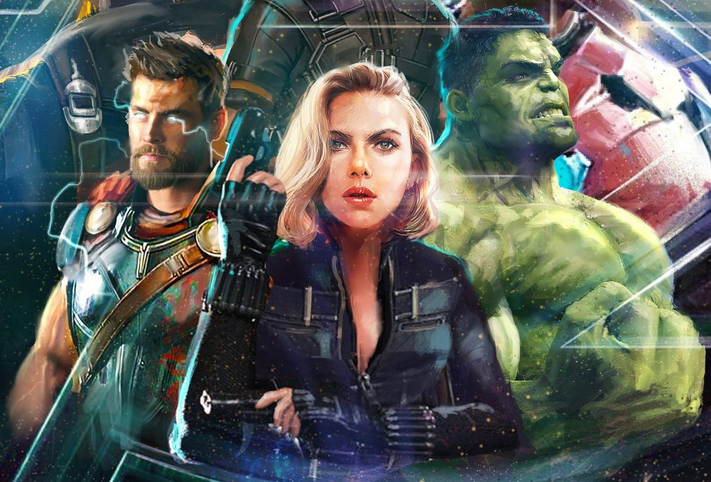 Thor Black Widow Hulk In Avengers Infinity War Artwork 2018 Wallpaper
