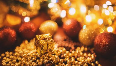 Tiny Gold Christmas Gift Wallpaper