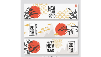 دانلود وکتور Flat chinese new year banners