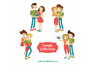 دانلود وکتور Valentine's day couple collection