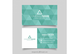 دانلود وکتور Green business card with triangular shapes