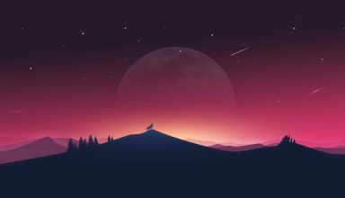 Wolf Howling Moon Silhouette Minimal 4k Wallpaper