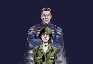 Young and Old Steve Rogers Artwork Wallpaper