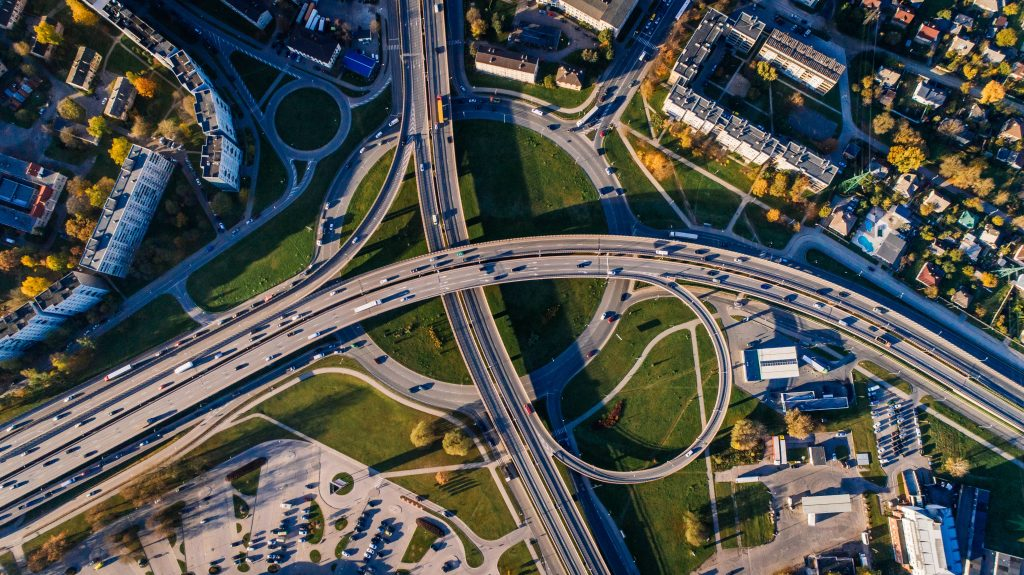 Aerial Photo of Buildings and Roads Wallpaper