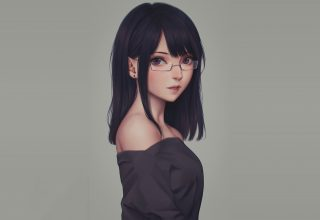 Anime Glasses Girl Wallpaper