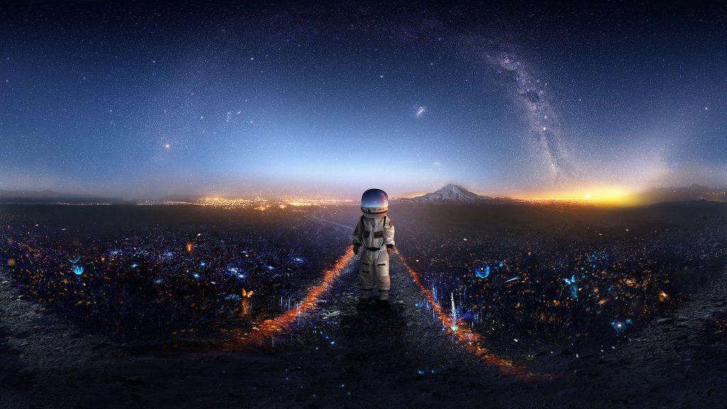 Astronaut Surreal Signal Wallpaper