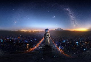 Astronaut Surreal Signal Wallpaper