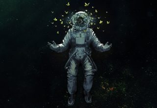 Astronaut Broken Glass Butterfly Space Suit Wallpaper