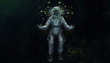 Astronaut Broken Glass Butterfly Space Suit Wallpaper