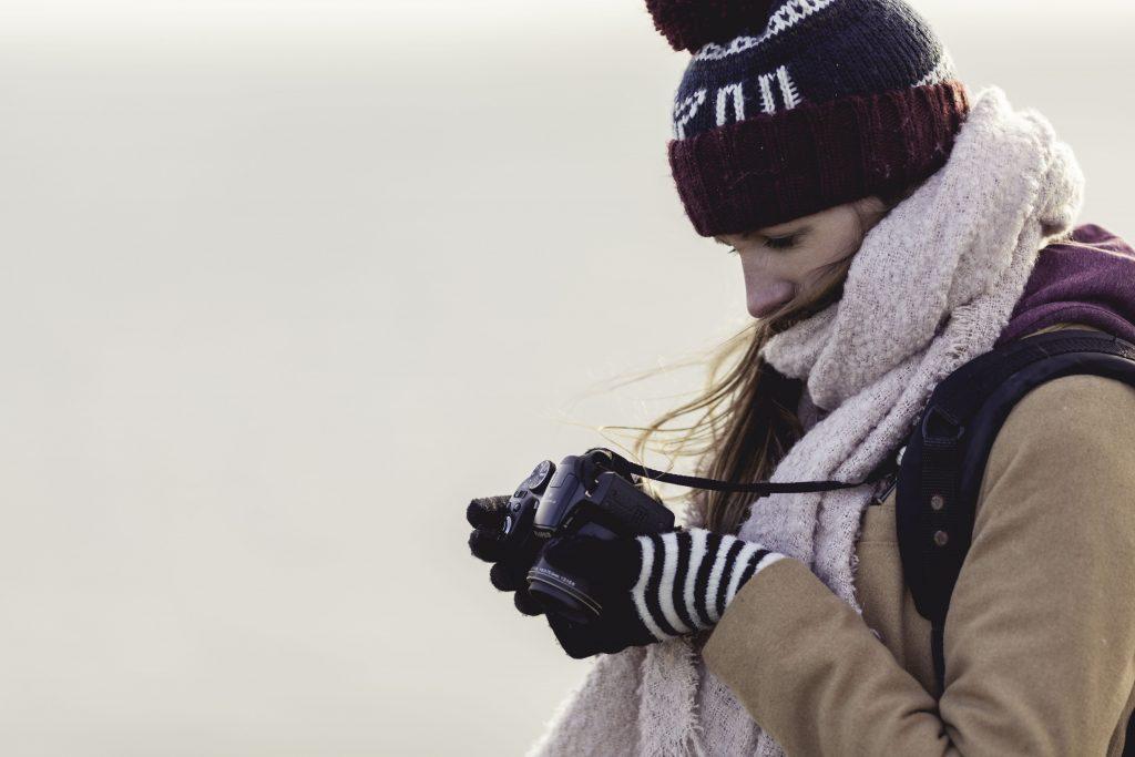 Camera Girl Photographer Whitespace Wallpaper