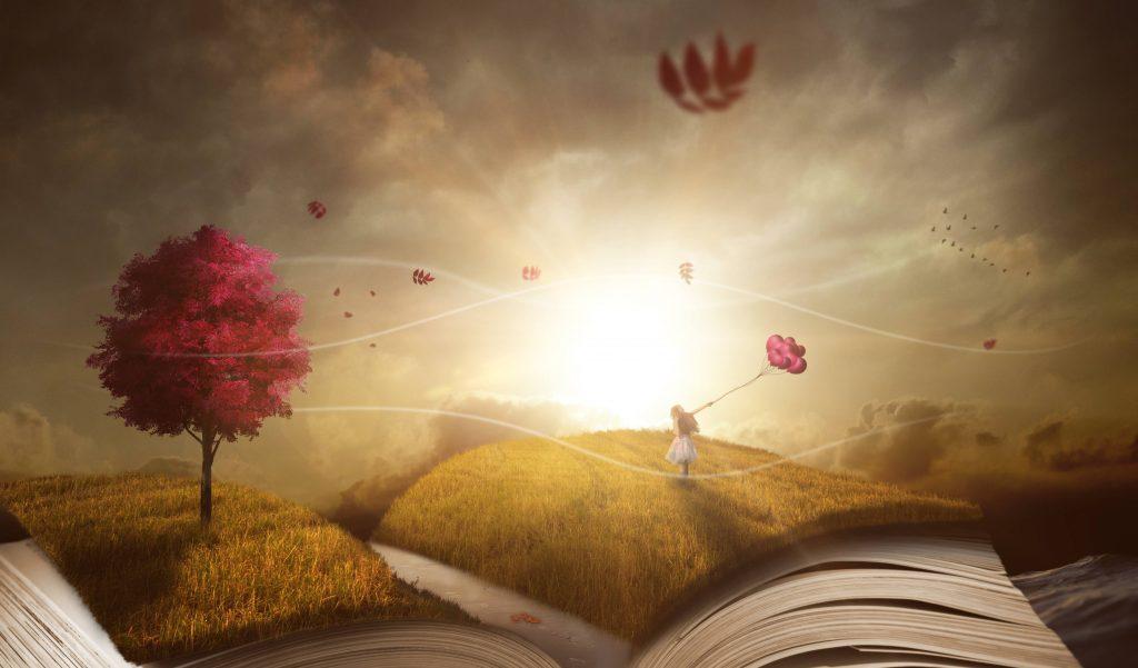 Dream Autumn Landscape Book Girl Wallpaper