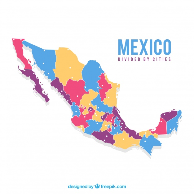 دانلود وکتور Flat mexico map background