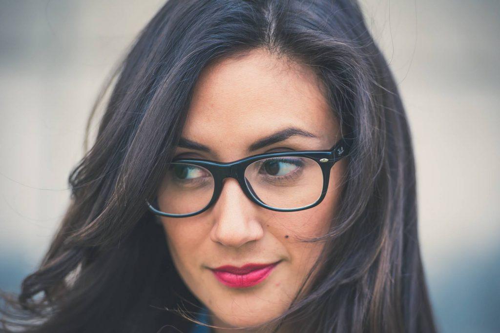 Girl Lips Glasses Lenses Wallpaper