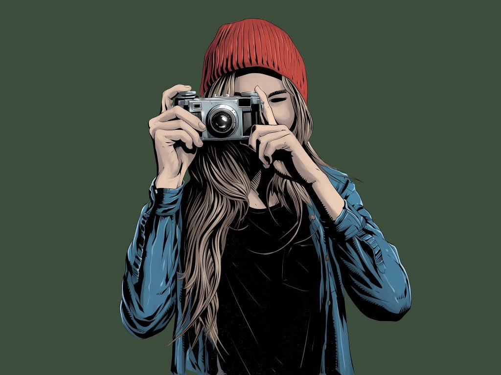 Girl Photographer Art Wallpaper