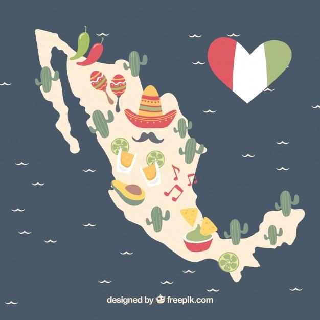 دانلود وکتور Hand drawn mexican map background with elements