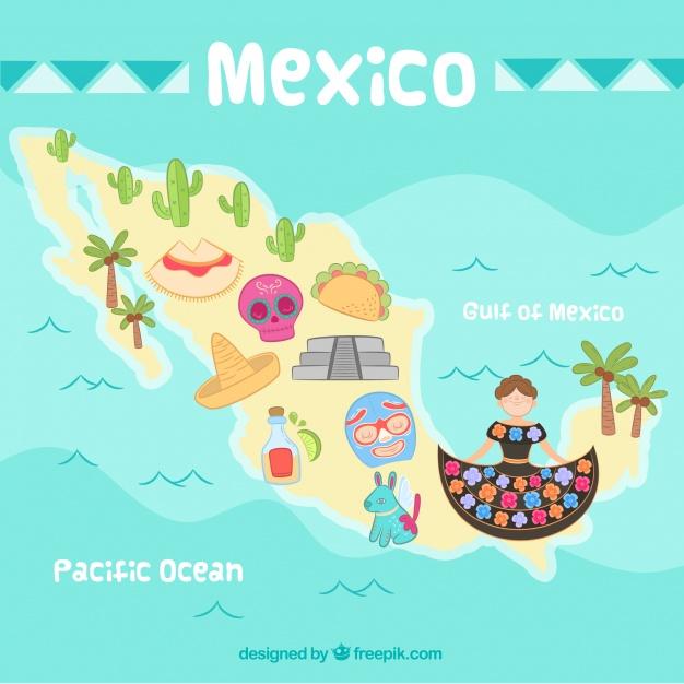 دانلود وکتور Hand drawn mexico map background