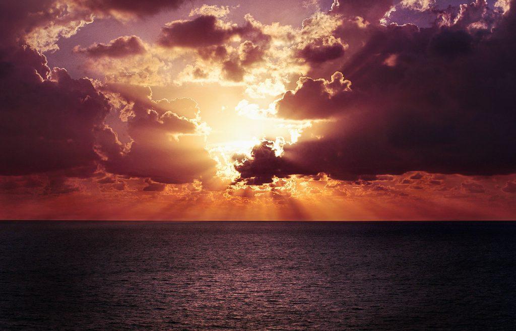 Horizon Ocean Sunset Wallpaper
