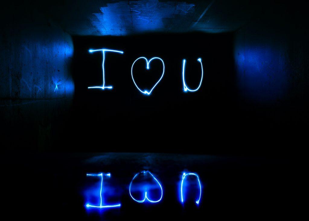 I Love You Light Streaks Long Exposure Wallpaper